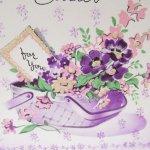 使用済  ヴィンテージカード Birthday Greetings Sister 紫フラワーバスケット 使用済