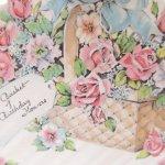 使用済  ヴィンテージカード Basket of Birthday Flowers パステルフラワーバスケット 使用済
