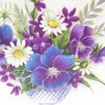 使用済  ヴィンテージカード For Grandmother on Her Birthday ホブネイル花瓶 使用済