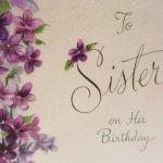 使用済  ヴィンテージカード To Sister on Her Birthday バイオレットフレーム 使用済