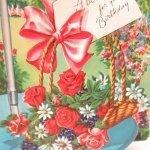 使用済  ヴィンテージカード A Bouquet レッドローズ  使用済