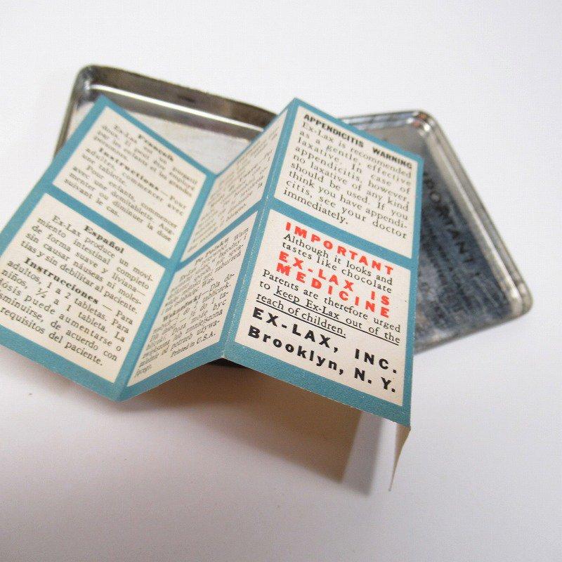 ヴィンテージ EX-LAX オリジナル使用上の説明書付き ティン缶 レギュラーサイズ【画像17】