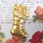ファッション  ヴィンテージアクセサリー クリスマス靴下とテディベア ゴールドブローチ