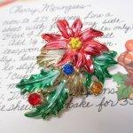 ファッション  ヴィンテージアクセサリー クリスマスポインセチアとラインストーン ブローチ