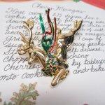 ファッション  ヴィンテージアクセサリー クリスマスゴールドトナカイ ブローチ