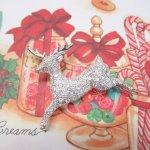 レディス  ヴィンテージアクセサリー クリスマス シルバートナカイラインストーン ブローチ