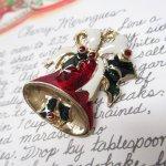 ファッション  ヴィンテージアクセサリー クリスマス レッドベル ブローチ