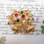 レディス  ヴィンテージアクセサリー クリスマス ゴールドベルラインストーン ブローチ