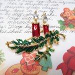 ファッション  ヴィンテージアクセサリー クリスマス レッドキャンドル ブローチ
