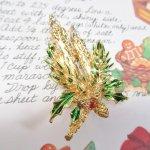ファッション  ヴィンテージアクセサリー クリスマス ゴールドキャンドル ブローチ