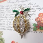 レディス  ヴィンテージアクセサリー クリスマス ラインストーンシルバー&ゴールド ブローチ
