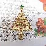 ファッション  ヴィンテージアクセサリー クリスマスツリーゴールド ブローチ