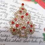 レディス  ヴィンテージアクセサリー クリスマスツリーラインストーン ブローチ