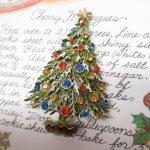 ファッション  ヴィンテージアクセサリー クリスマスツリー カラフルラインストーンオーナメント ブローチ