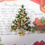 ファッション  ヴィンテージアクセサリー クリスマスツリー 赤&クリスタルラインストーンオーナメント ブローチ