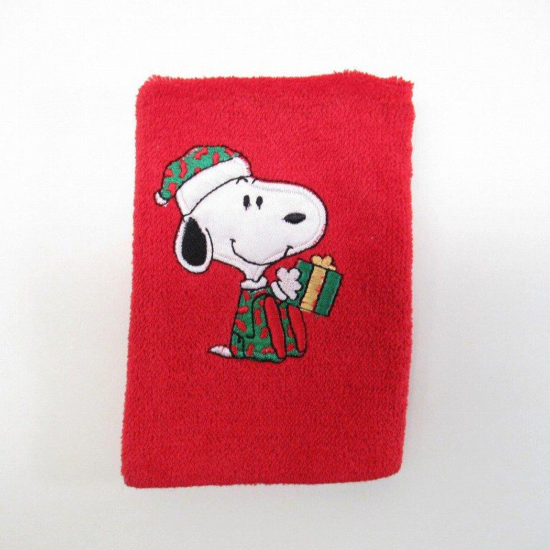 スヌーピー クリスマス ミニタオル 米国製デッドストック 赤 A【画像2】