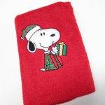 シーツ&ハンドメイド素材  スヌーピー クリスマス ミニタオル 米国製デッドストック 赤 A