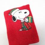 シーツ&ハンドメイド素材  スヌーピー クリスマス ミニタオル 米国製デッドストック 赤 B