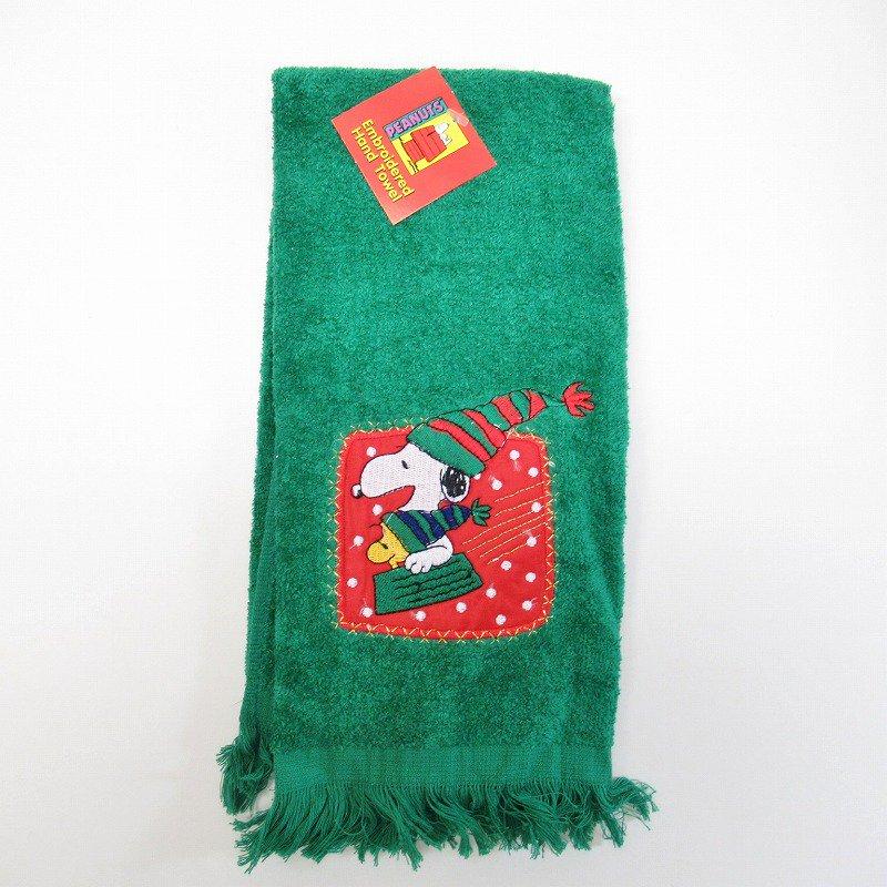 スヌーピー クリスマス ハンドタオル そり デッドストック 緑