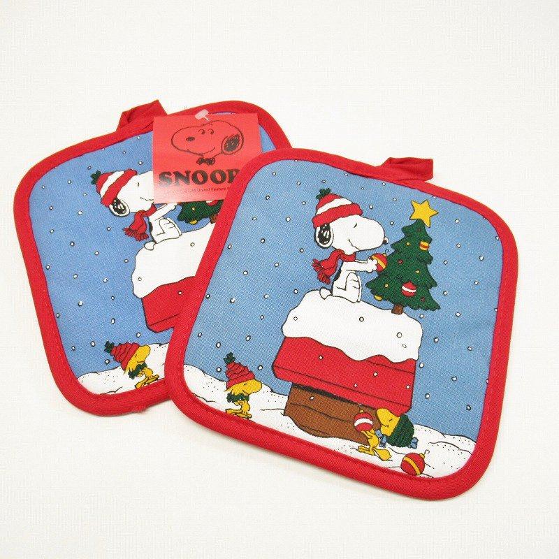 スヌーピー クリスマス ポットホルダー ツリーと犬小屋 デッドストック スクエア