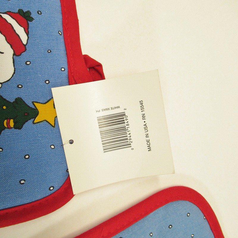 スヌーピー クリスマス ポットホルダー ツリーと犬小屋 デッドストック スクエア【画像3】