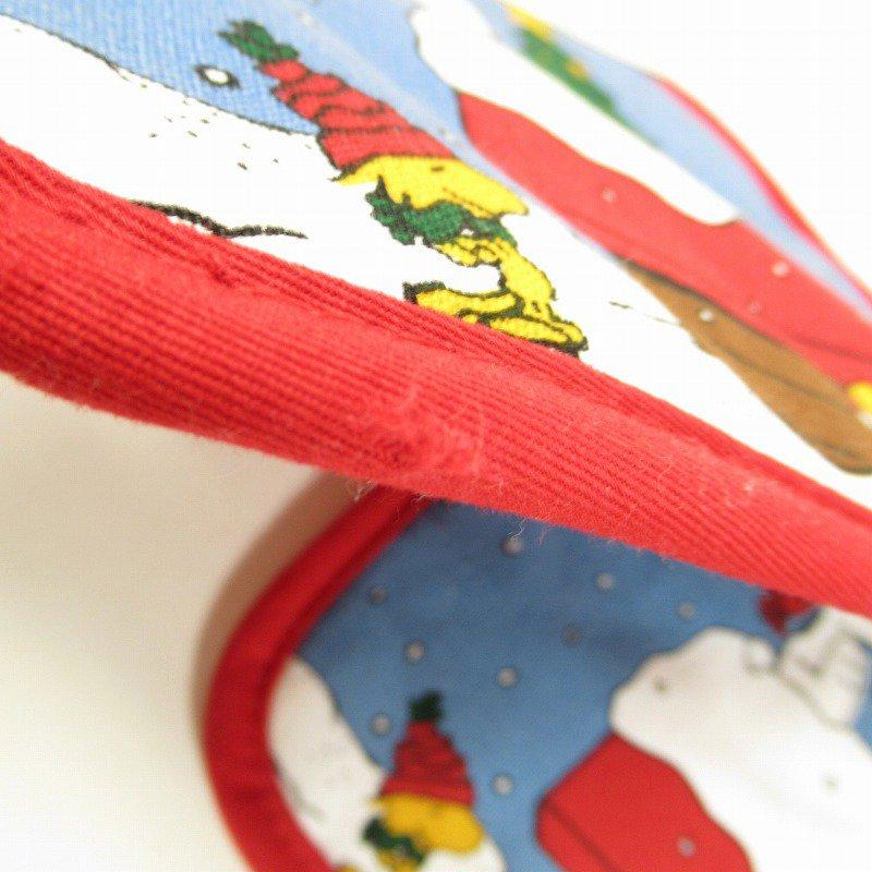スヌーピー クリスマス ポットホルダー ツリーと犬小屋 デッドストック スクエア【画像6】