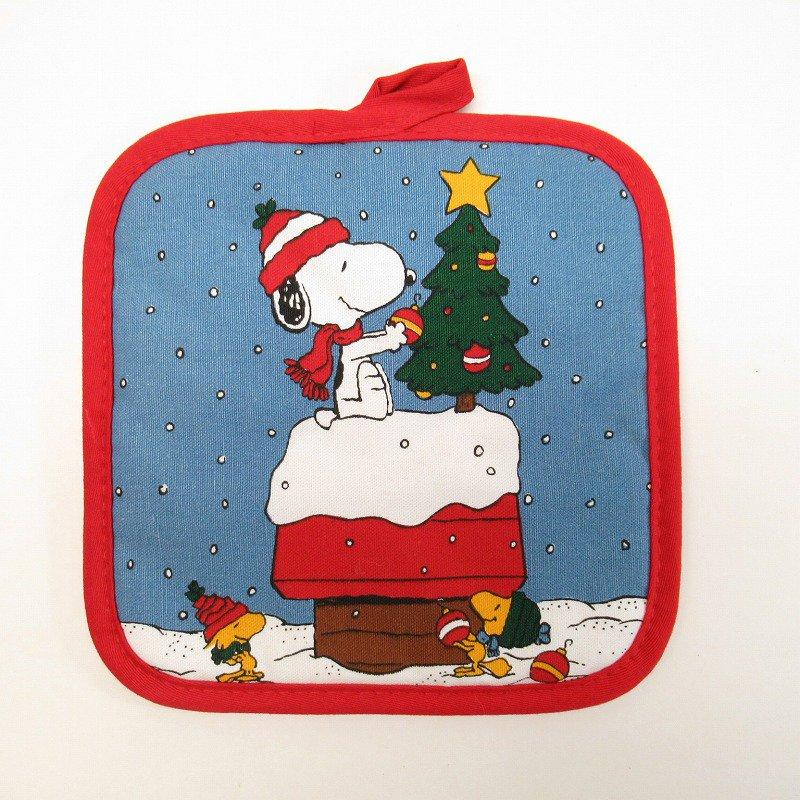 スヌーピー クリスマス ポットホルダー ツリーと犬小屋 デッドストック スクエア【画像9】