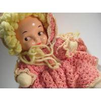 ヴィンテージ雑貨 手編みドイリー服着用・ピンク・手作りドール