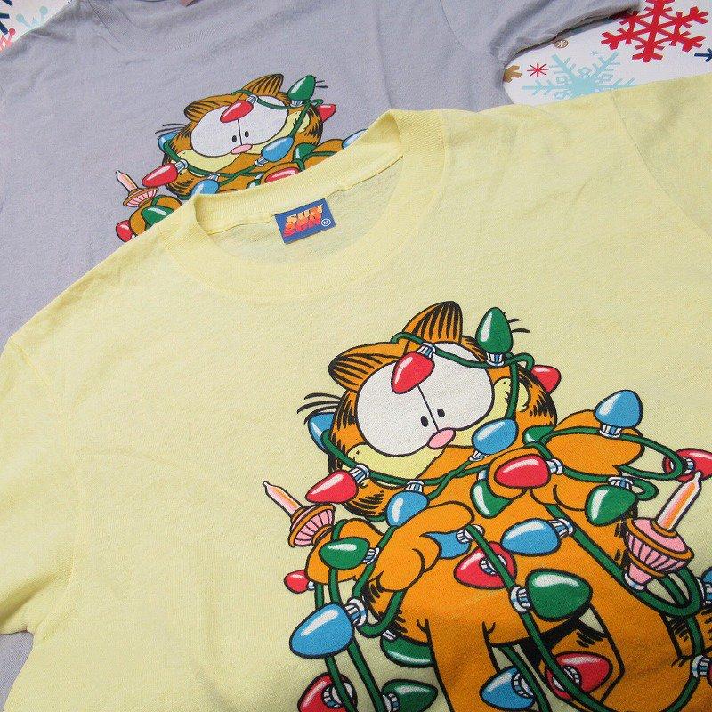 ガーフィールド 米国製デッドストック レディス用 Mサイズ クリスマスTシャツ 各色