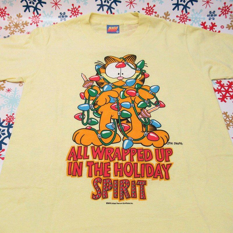 ガーフィールド 米国製デッドストック レディス用 Mサイズ クリスマスTシャツ 各色【画像2】