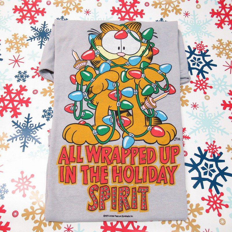 ガーフィールド 米国製デッドストック レディス用 Mサイズ クリスマスTシャツ 各色【画像14】