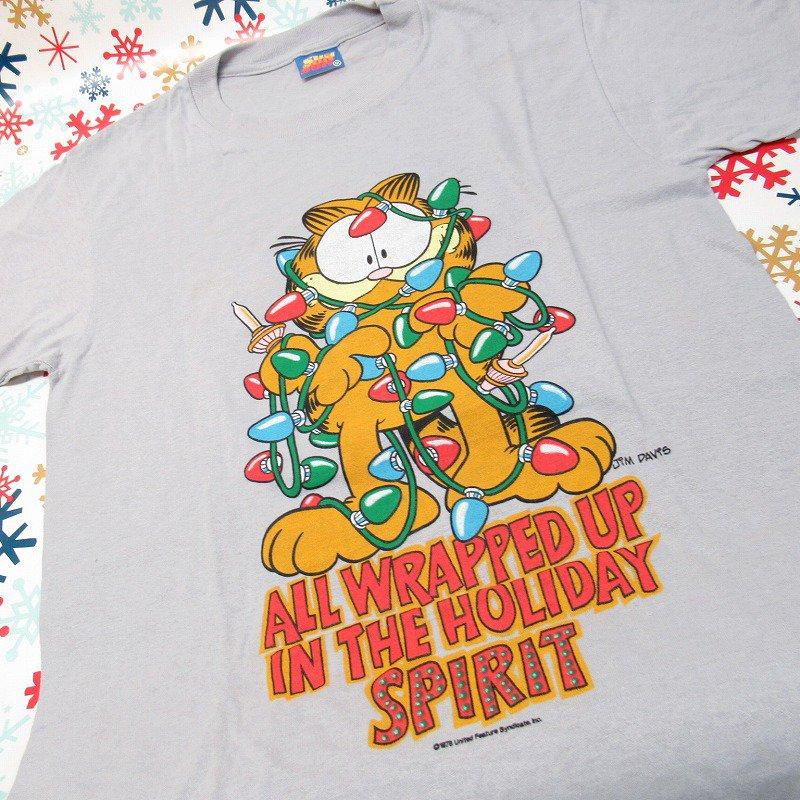 ガーフィールド 米国製デッドストック レディス用 Mサイズ クリスマスTシャツ 各色【画像8】
