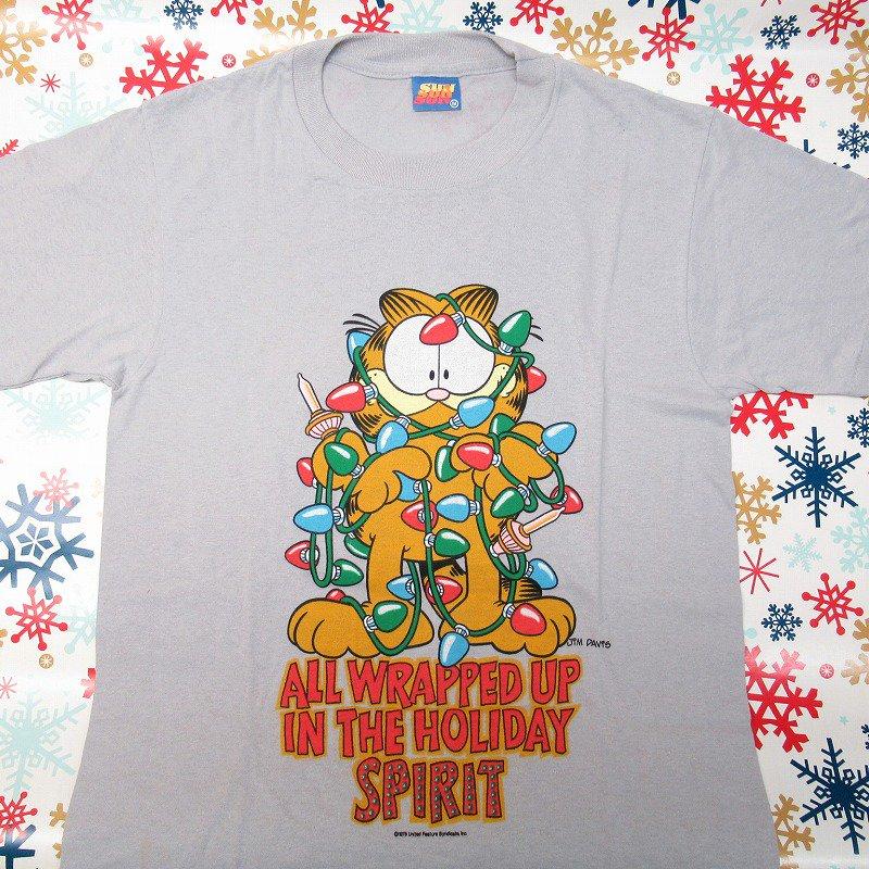 ガーフィールド 米国製デッドストック レディス用 Mサイズ クリスマスTシャツ 各色【画像9】