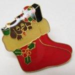 ファッション  クリスマス靴下に入るわんちゃん ピンズ
