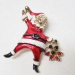 レディス  クリスマス ヴィンテージ 真鍮製 サンタ ブローチ