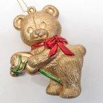 ツリーにつけるオーナメント  クリスマスオーナメント陶器製 ゴールドベア