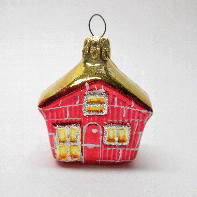 クリスマスオーナメント マーキュリーグラス製 赤いおうち