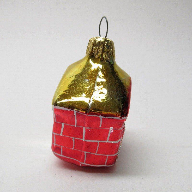 クリスマスオーナメント マーキュリーグラス製 赤いおうち【画像2】