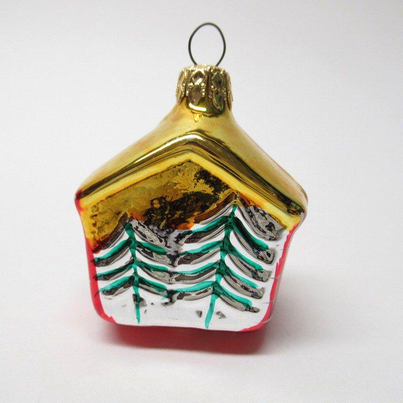 クリスマスオーナメント マーキュリーグラス製 赤いおうち【画像3】