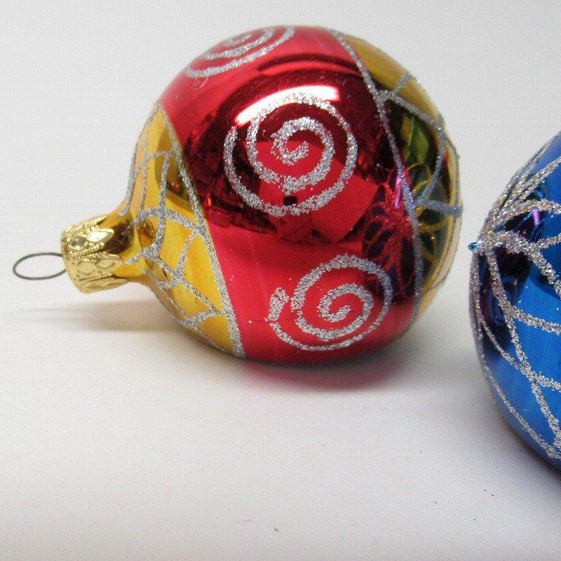 クリスマスオーナメント マーキュリーグラス製 ティアドロップ2個セット【画像3】