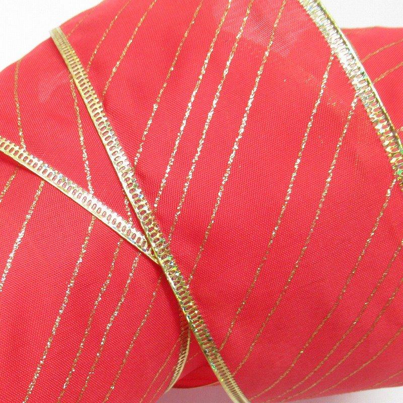 クリスマス用 デコレーションワイヤー入り クラフトリボン 赤&ゴールドストライプ