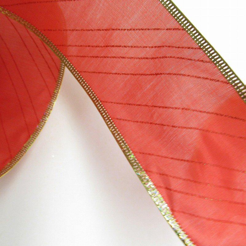 クリスマス用 デコレーションワイヤー入り クラフトリボン 赤&ゴールドストライプ【画像4】