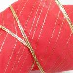 その他  クリスマス用 デコレーションワイヤー入り クラフトリボン 赤&ゴールドストライプ