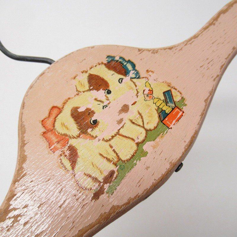 ベビー用 木製ハンガー ピンク 仔犬