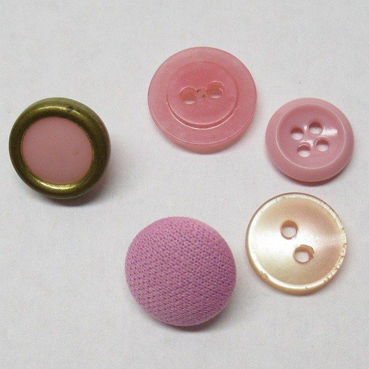 ヴィンテージボタン アソート ピンク 5個セット【画像2】