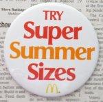 缶バッチ  マクドナルド ヴィンテージ 缶バッチ Super Summer Size