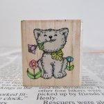 ゴム製  ヴィンテージスタンプ 1980~90年代 お花をくわえる白猫