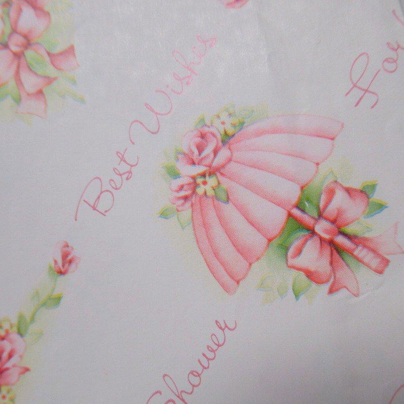 ヴィンテージラッピングペーパー 1980年代 ピンクのブーケと傘