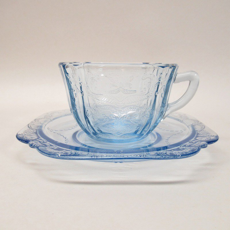 フェデラルグラス インディアナグラス マドリッド マドンナブルー カップ & ソーサー C