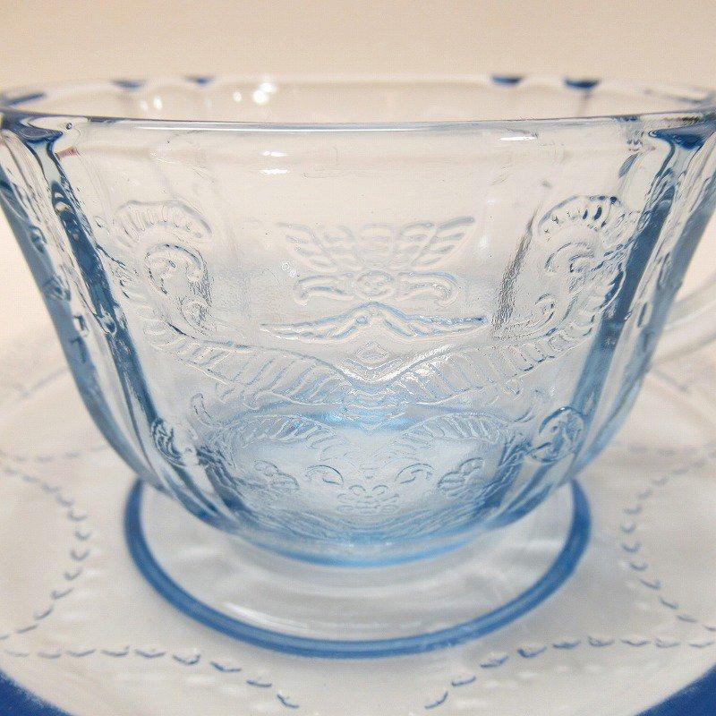 フェデラルグラス インディアナグラス マドリッド マドンナブルー カップ & ソーサー C【画像2】